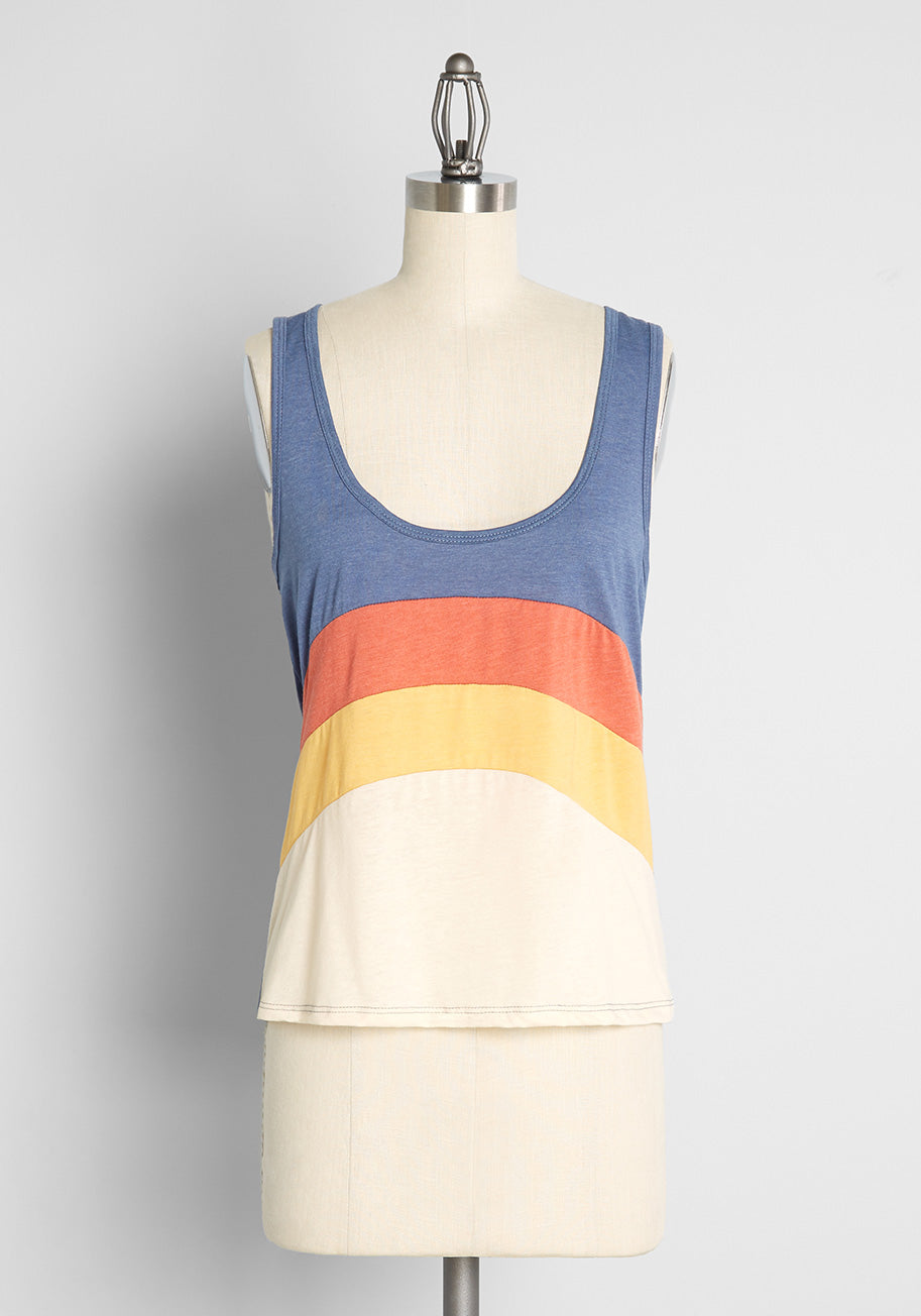 Vintage Workout Clothes – Retro Gym Clothes ModCloth x CAMP Collection Surfing Sunsets Tank Top in White Size 2X $35.00 AT vintagedancer.com