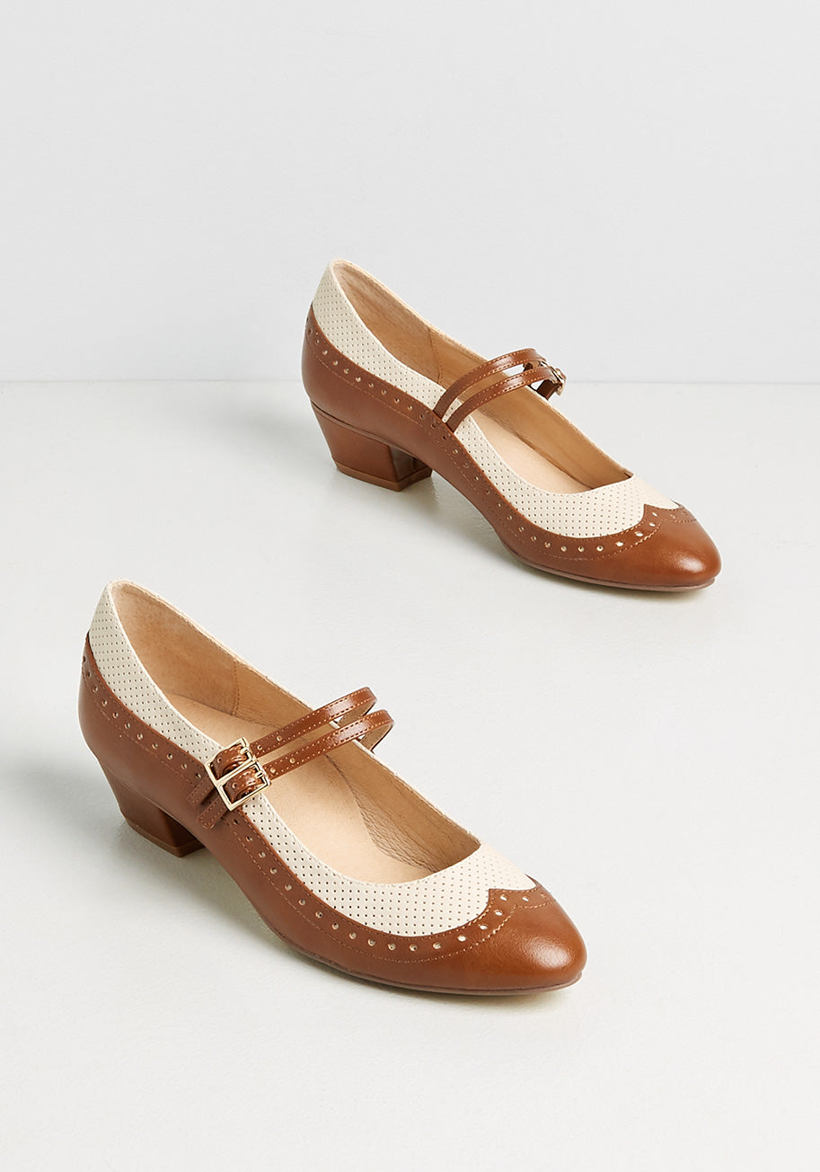 1950s Style Clothing & Fashion Chelsea Crew Fabulous Fusion Mary Jane Heels in Tan Size 42 $72.00 AT vintagedancer.com
