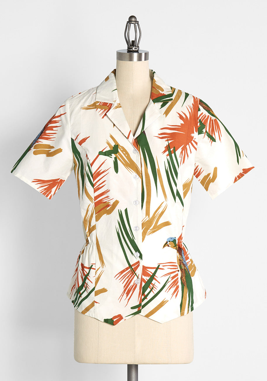 Pin Up Dresses | Pinup Clothing & Fashion Pretty Vacant Parrot of Merit Button-Up Shirt in WhiteYellow Size 2XL $49.00 AT vintagedancer.com