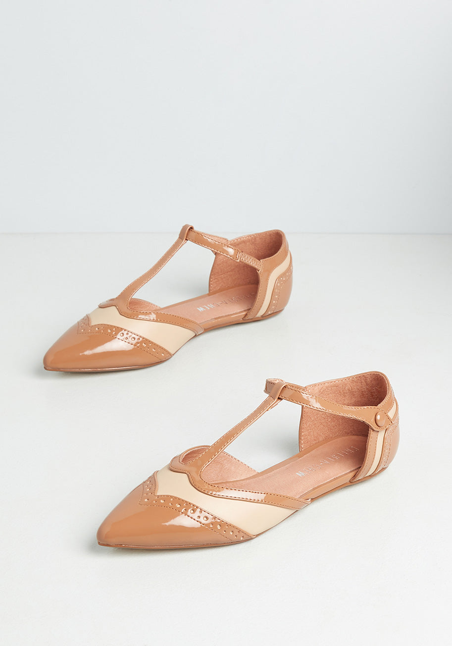 1920s Style Shoes, Heels, Boots Chelsea Crew Its Decided T-Strap Flats in Tan Size 41 $59.00 AT vintagedancer.com