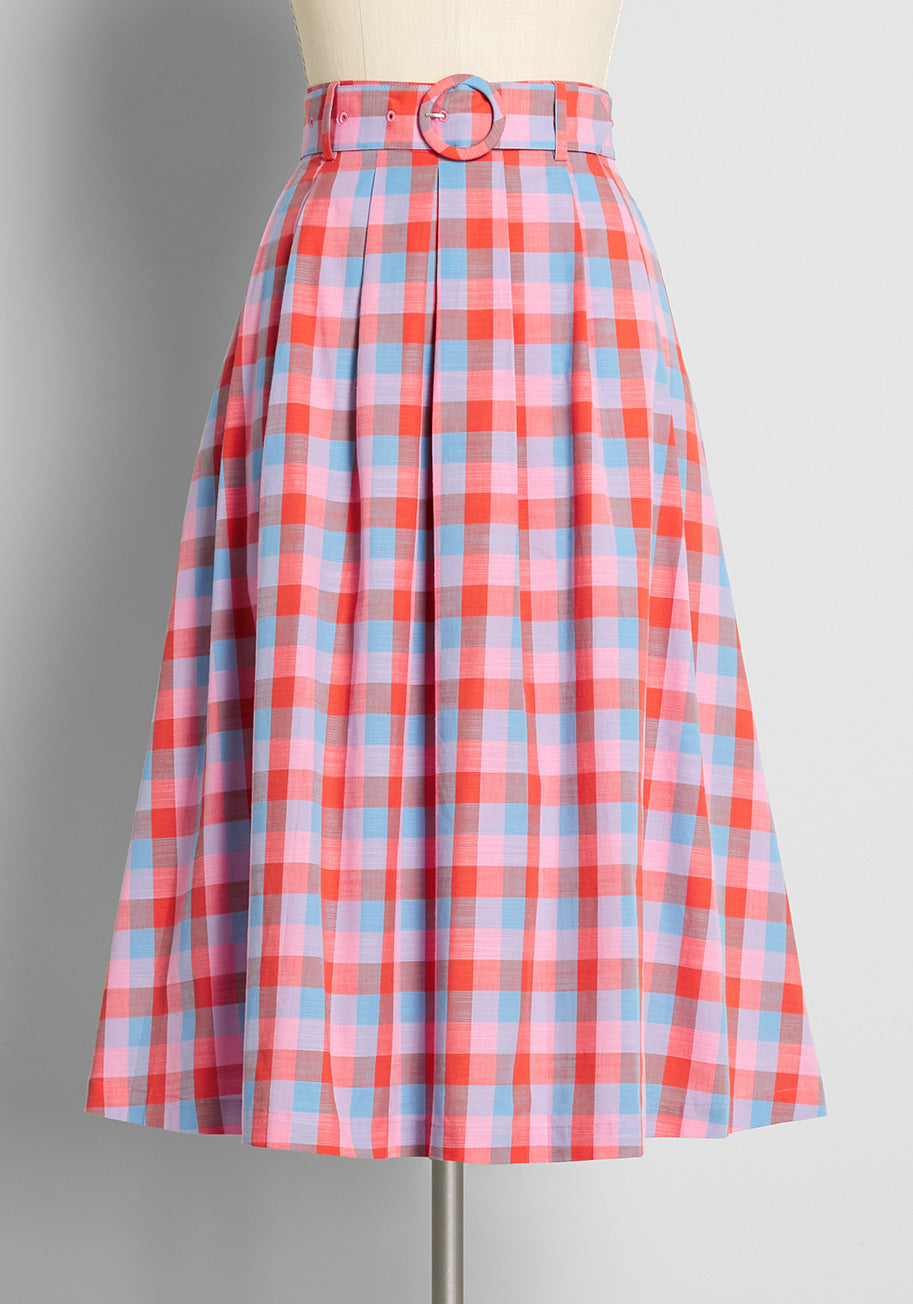 70s Clothes | Hippie Clothes & Outfits ModCloth x Barbie So Plaid Its Good Pleated A-Line Skirt in Barbie Check Yarn Dye Size 26W $79.00 AT vintagedancer.com