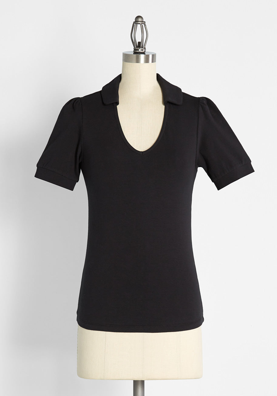 1970s Shirts, Tops, Blouses, T-Shirt Styles   History ModCloth Take It or Sleeve It V-Neck Top in Black Size 4X $35.00 AT vintagedancer.com