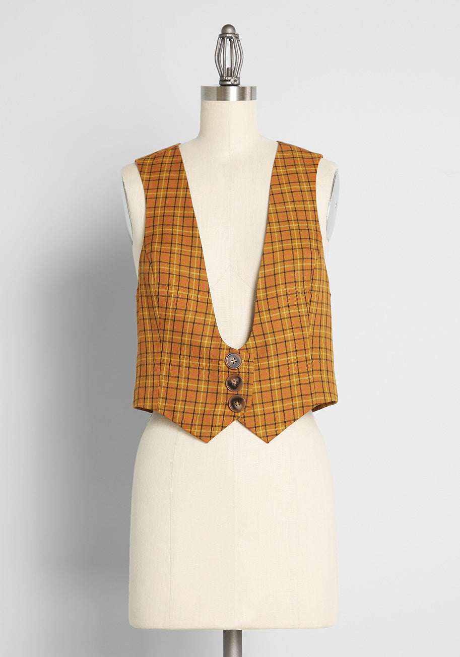 Vintage Western Wear Clothing, Outfit Ideas ModCloth Taking It Back Plaid Vest in Tan Size 4X $69.00 AT vintagedancer.com
