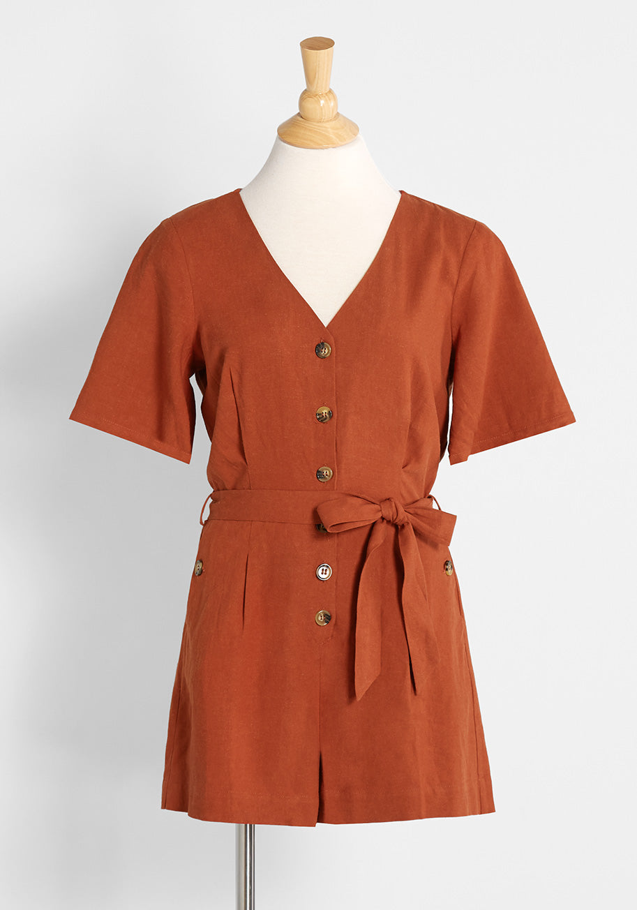 Vintage Rompers, Playsuits   Retro, Pin Up, Rockabilly Playsuits ModCloth Summertime Playtime Button-Front Romper in Rust Size 26W $69.00 AT vintagedancer.com