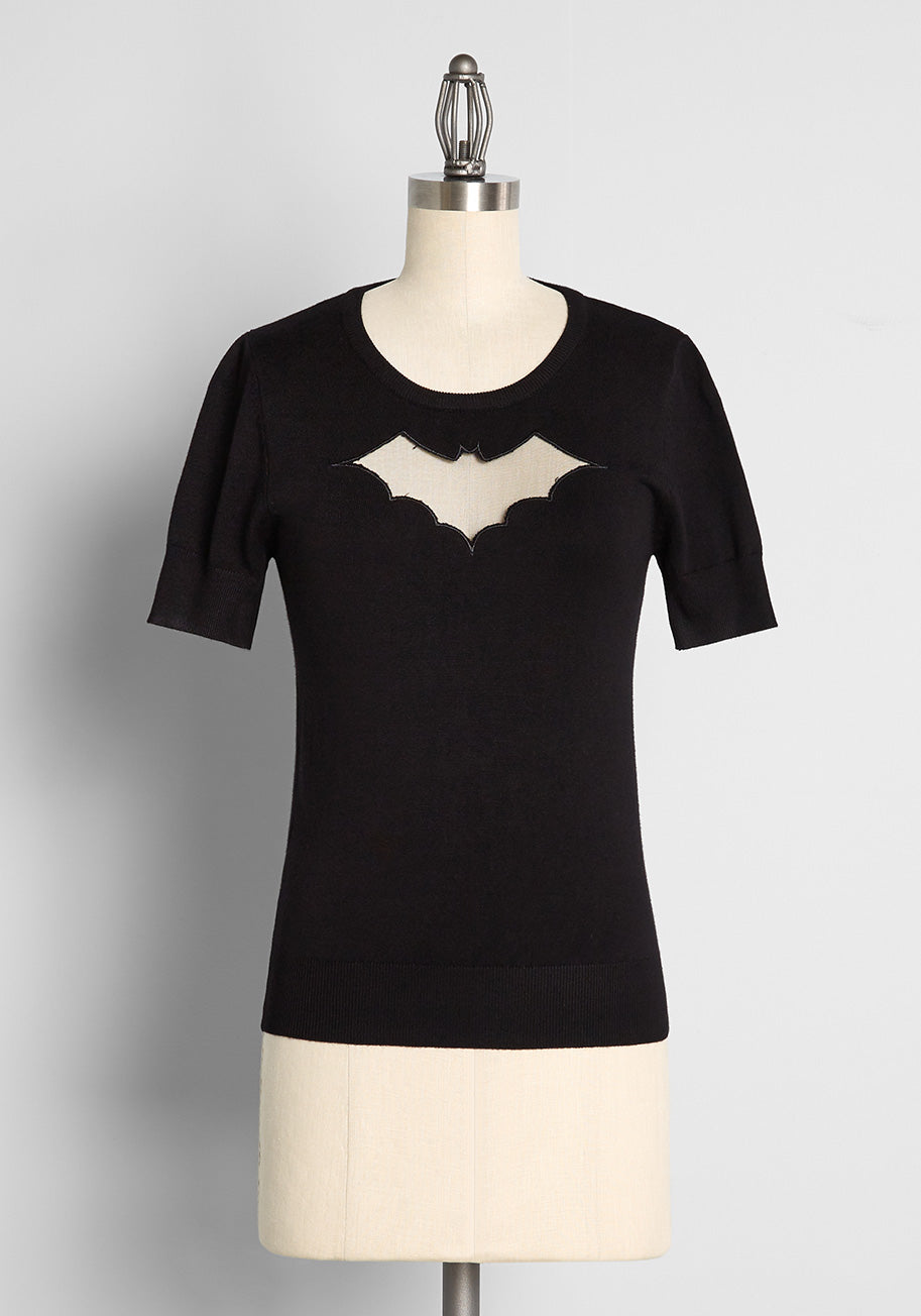 Easy Retro Halloween Costumes – Last Minute Ideas Hell Bunny Batty Not Bratty Knit Top in Black Size 4X $49.00 AT vintagedancer.com