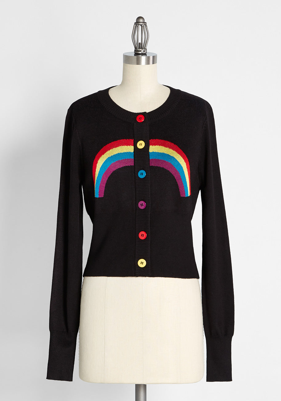 Vintage Sweaters, Retro Sweaters & Cardigan Banned Rainbow Days Ahead Cardigan in Black Size 4X $69.00 AT vintagedancer.com