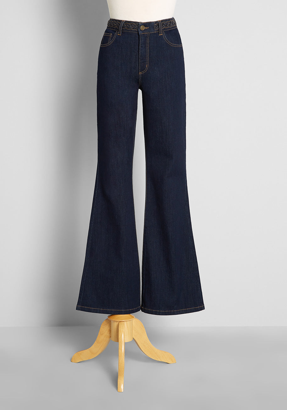 60s Pants, Jeans, Hippie, Flares, Jumpsuits ModCloth Braided in Heritage Flared Jeans in Blue Size 26 W $79.00 AT vintagedancer.com