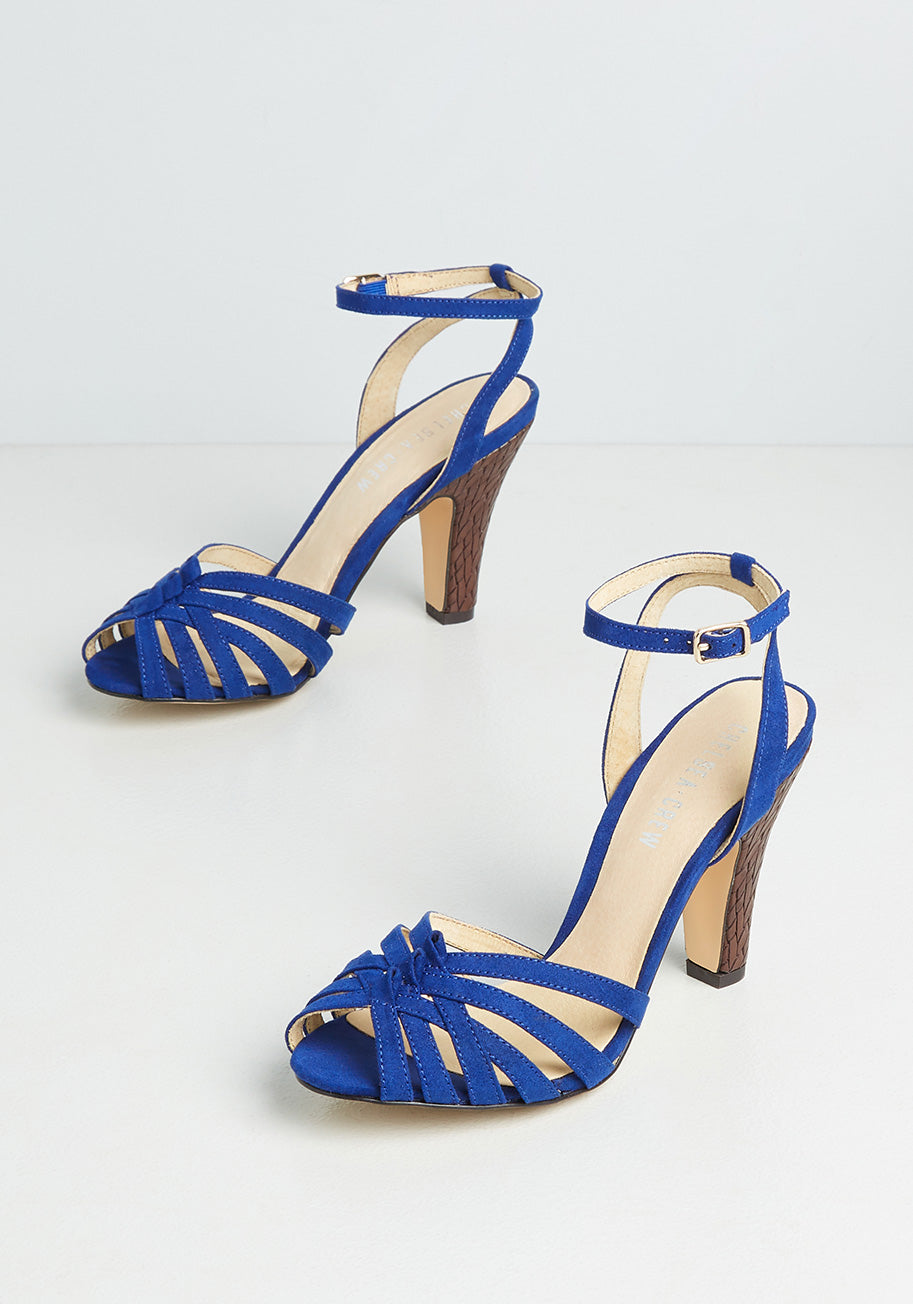 70s Outfits – 70s Style Ideas for Women Chelsea Crew Chic and Repeat Heels in Blue Size 41 $69.00 AT vintagedancer.com