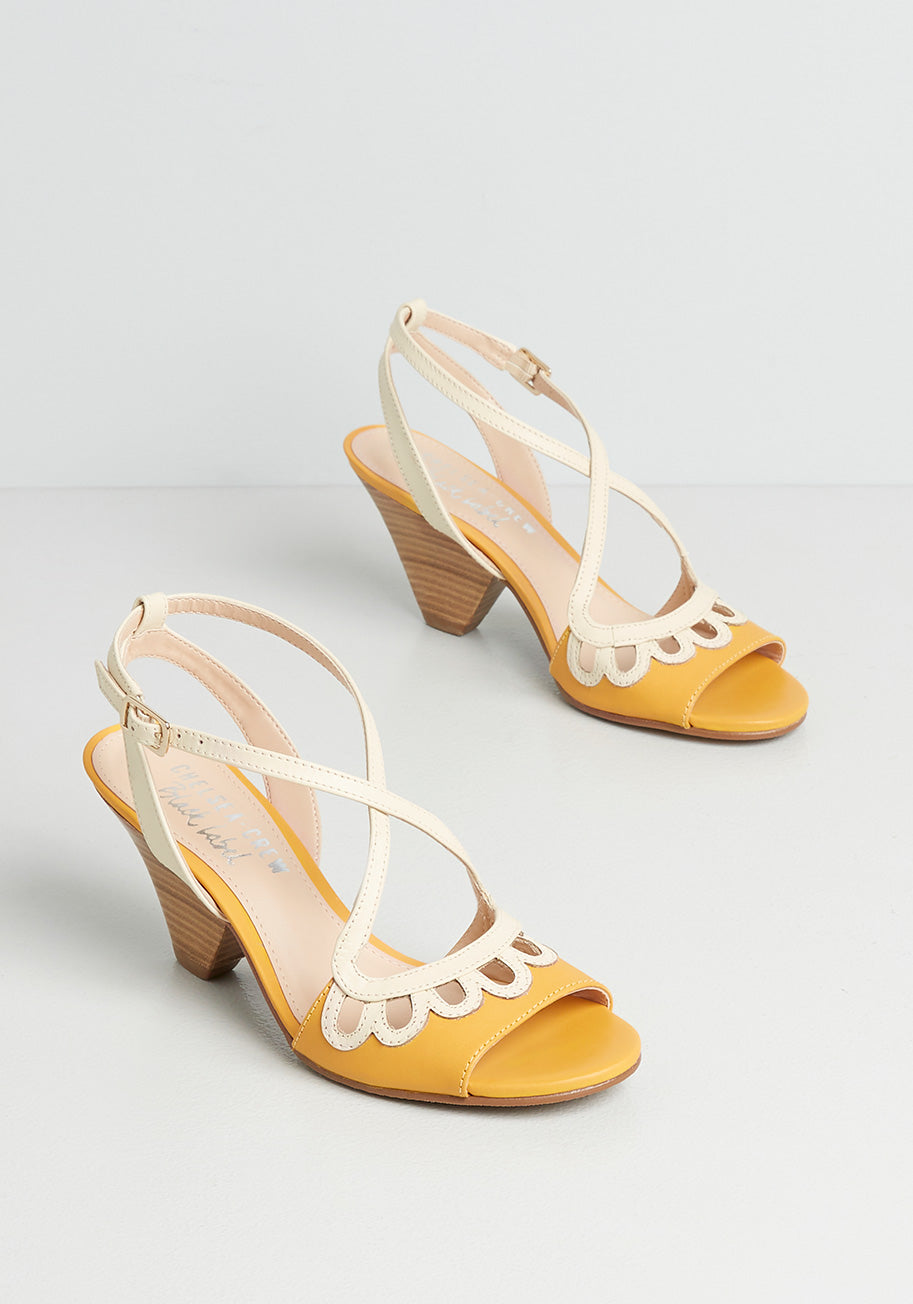 60s Shoes, Go Go Boots Chelsea Crew Looped In Leather Heels in Yellow Size 42 $69.00 AT vintagedancer.com
