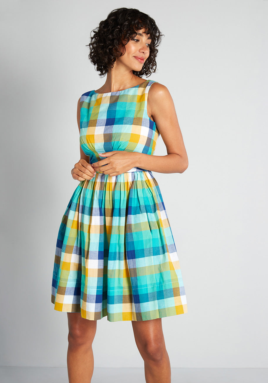 Pin Up Dresses | Pinup Clothing & Fashion Emily and Fin Picnics on the French Riviera Plaid A-Line Dress in GreenBlue Size XL $129.00 AT vintagedancer.com