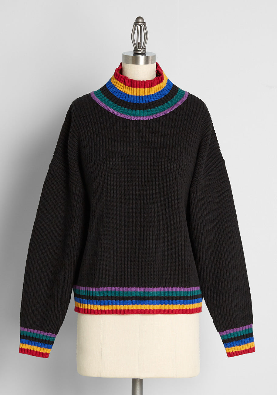 70s Clothes | Hippie Clothes & Outfits Dangerfield Coloring Between The Lines Mock Neck Sweater in Black Size 16 $69.00 AT vintagedancer.com