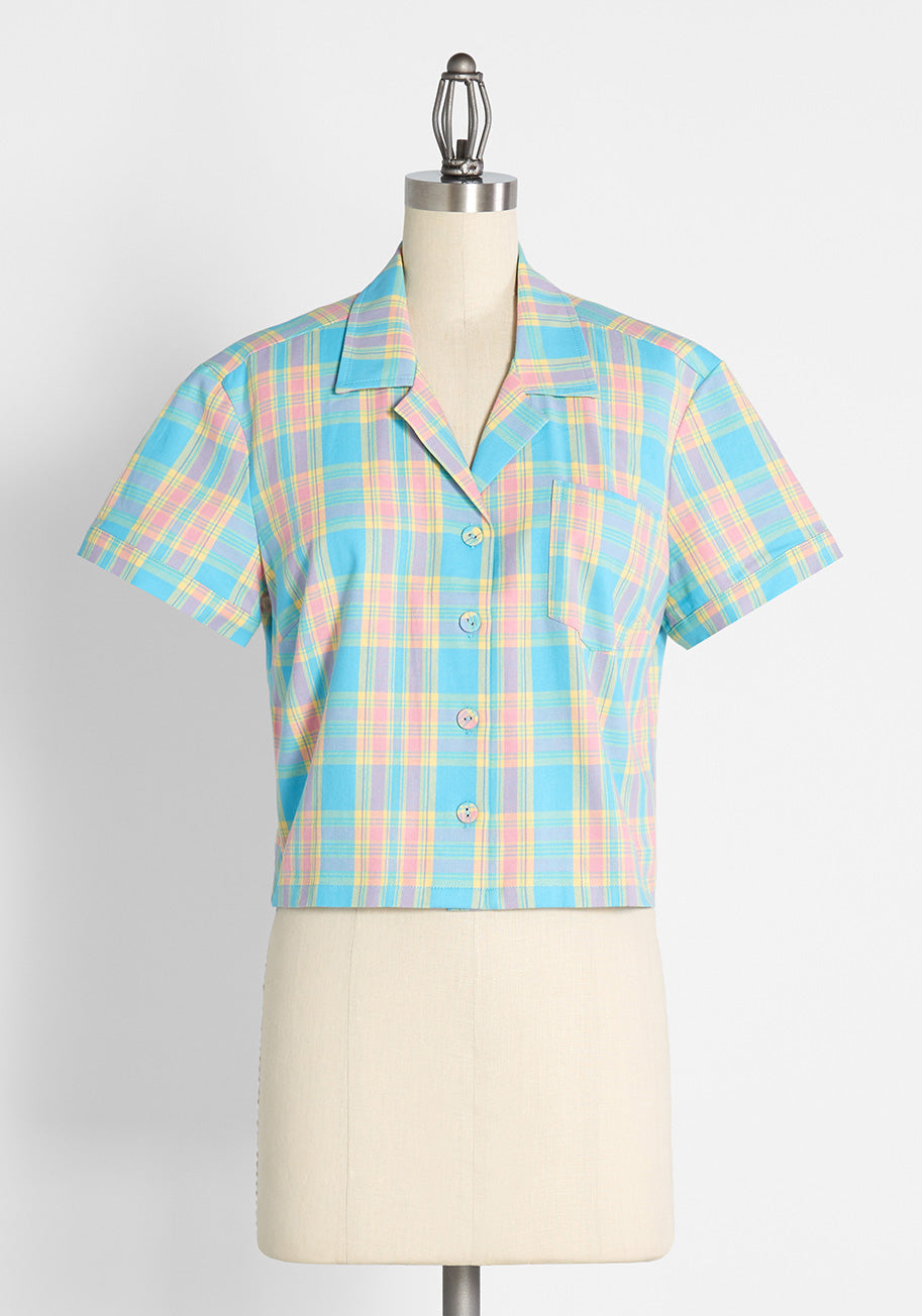 Vintage Western Wear Clothing, Outfit Ideas Dangerfield Staying In Plaid For Summer Button-Up Shirt in BluePink Size 18 $44.99 AT vintagedancer.com