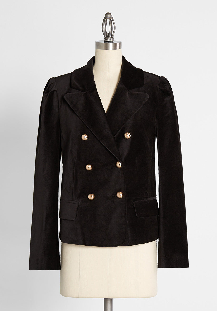 1950s Coats and Jackets History ModCloth Cheers To The New Year Blazer in Black Size XL $99.00 AT vintagedancer.com