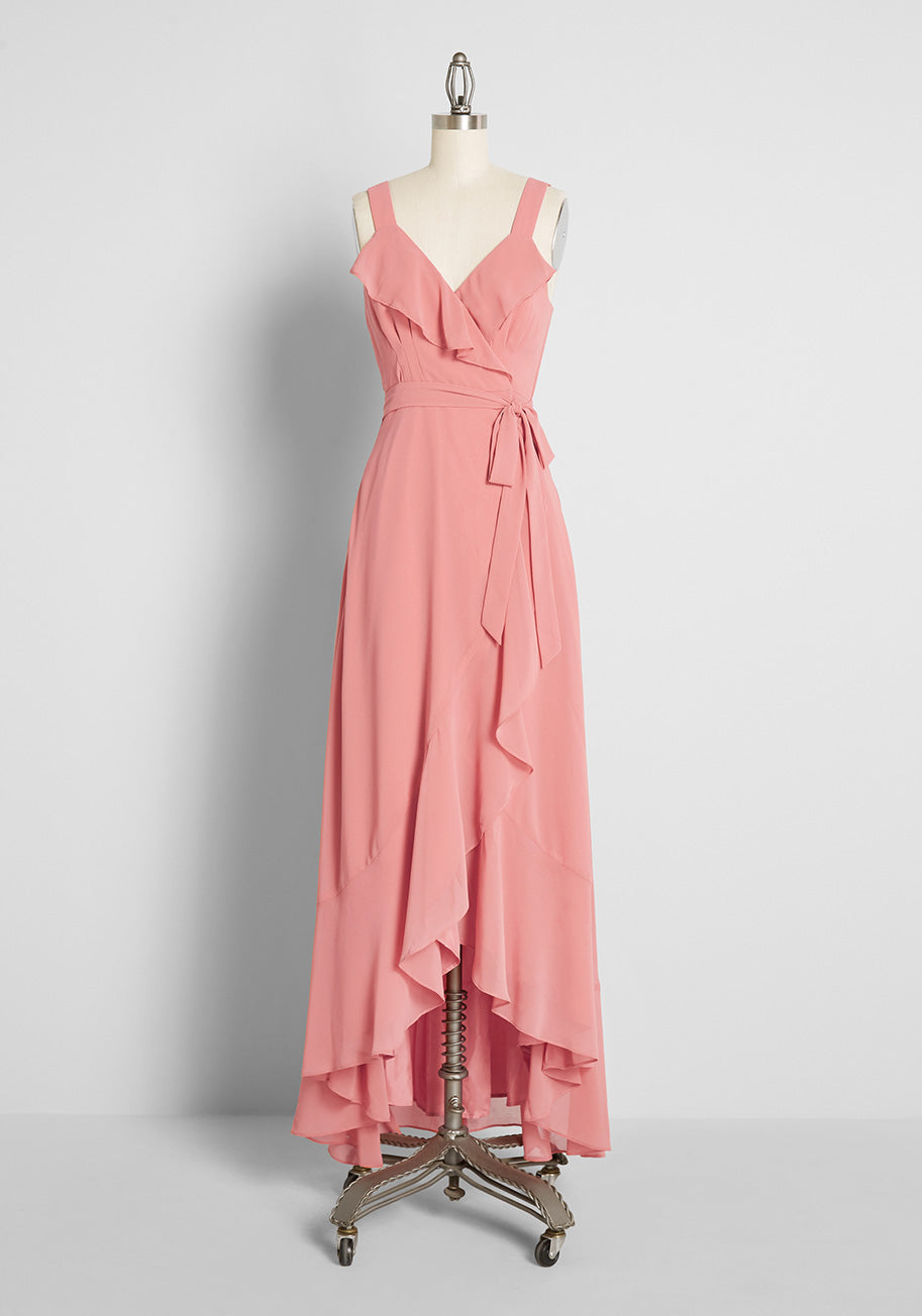 Plus Size Retro Dresses 50s, 60s ,70s, 80s, 90s Hutch RUFFLE WRAP MAXI DRESS IN PINK TERRACOTTA GGT Size 4X $199.00 AT vintagedancer.com
