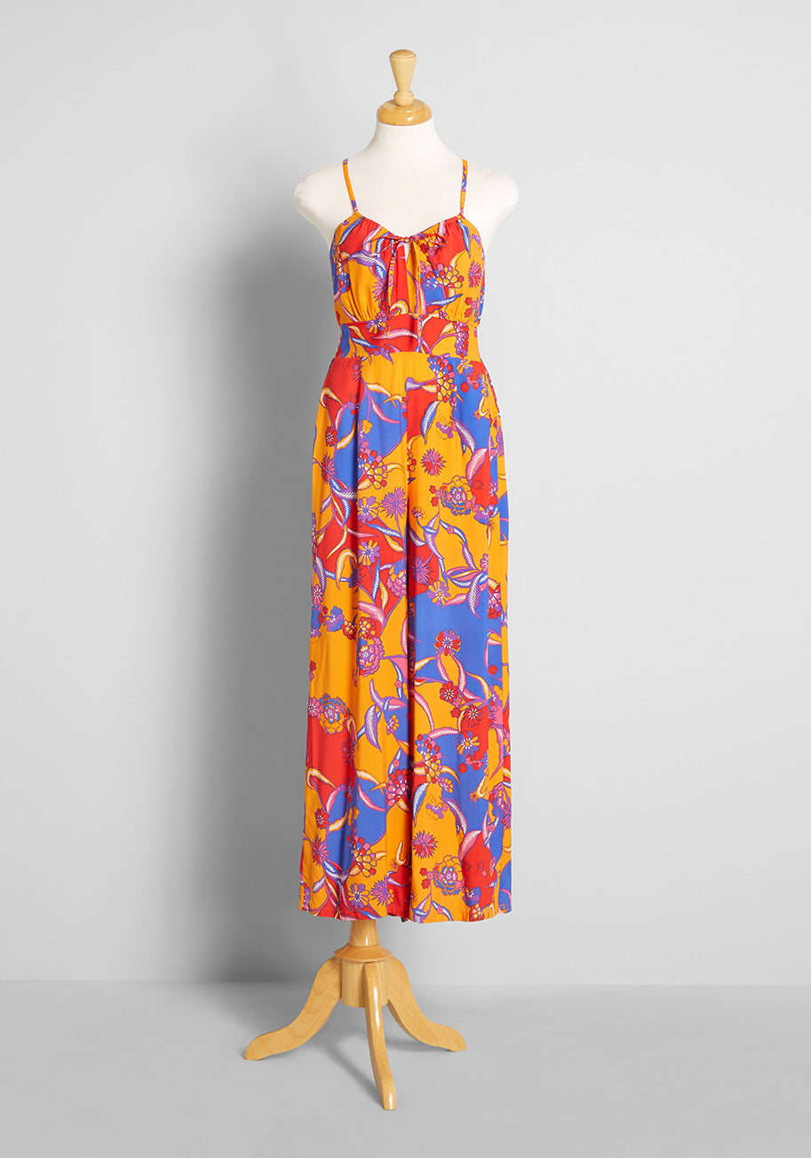 70s Jumpsuit | Disco Jumpsuits, Sequin Rompers ModCloth For the Love of Festival Season Jumpsuit in Bali Floral Candy Red Size 26W $89.00 AT vintagedancer.com