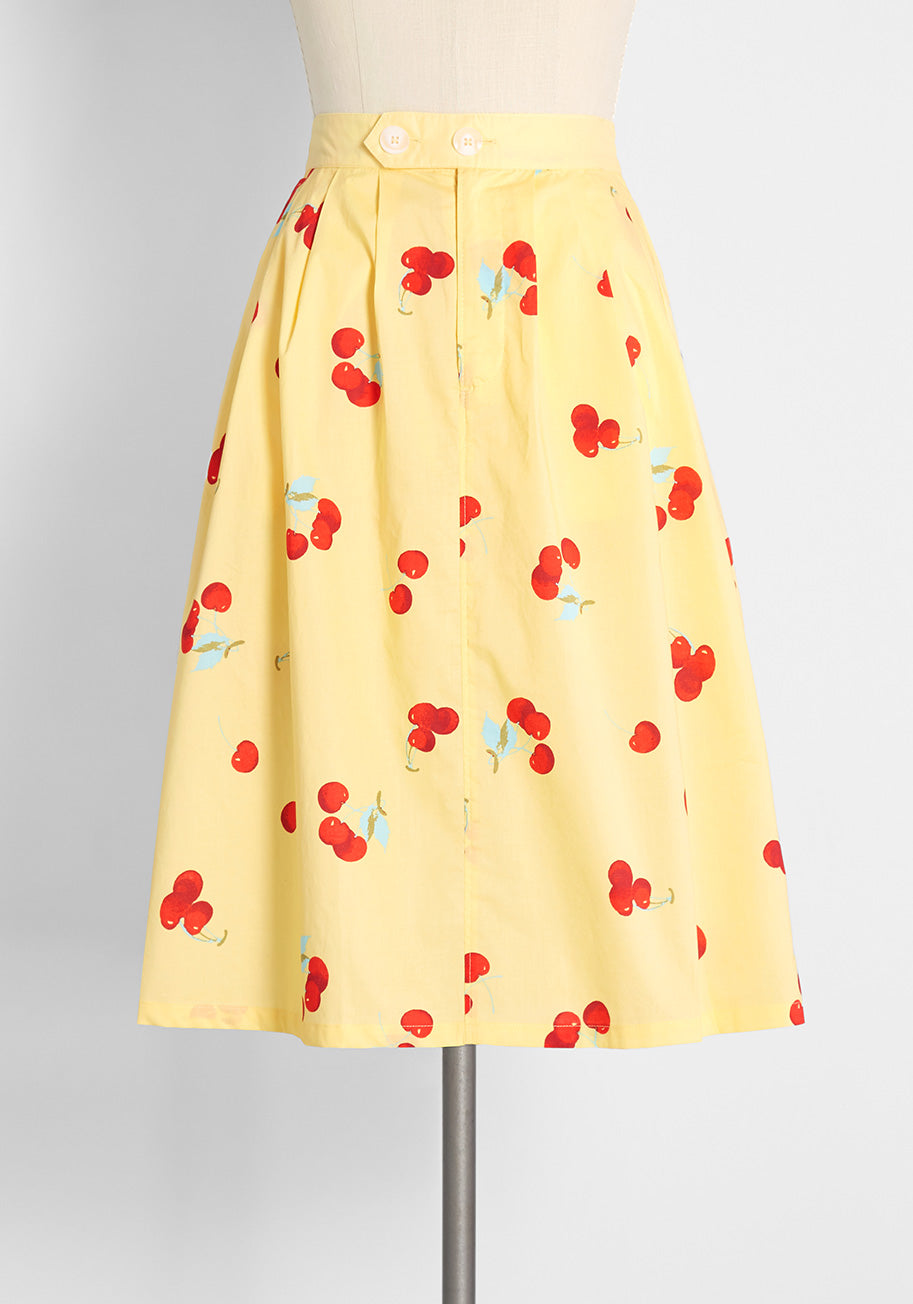 1980s Clothing, Fashion   80s Style Clothes ModCloth Working for the Long Weekend A-Line Skirt in Cherry Poppin Butter Size XL $69.00 AT vintagedancer.com