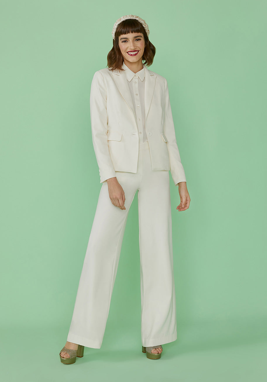60s Wedding Dresses | 70s Wedding Dresses ModCloth Aisle Be There Blazer in White Size 4X $29.97 AT vintagedancer.com
