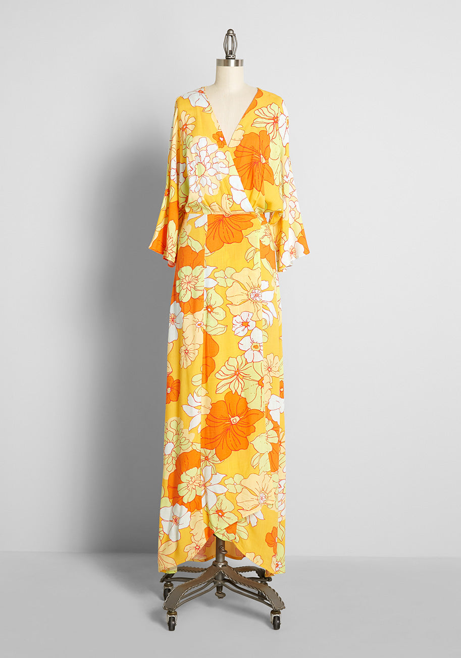 70s Disco Fashion: Disco Clothes, Outfits for Girls ModCloth Living That Resort Life Maxi Wrap Dress in YellowHonolulu Floral Size 4X $119.00 AT vintagedancer.com