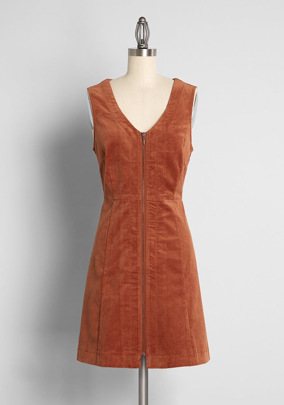 70s Clothes | Hippie Clothes & Outfits ModCloth x Princess Highway Corduroy Mini Dress in Toffee in Brown Size 28 $89.00 AT vintagedancer.com