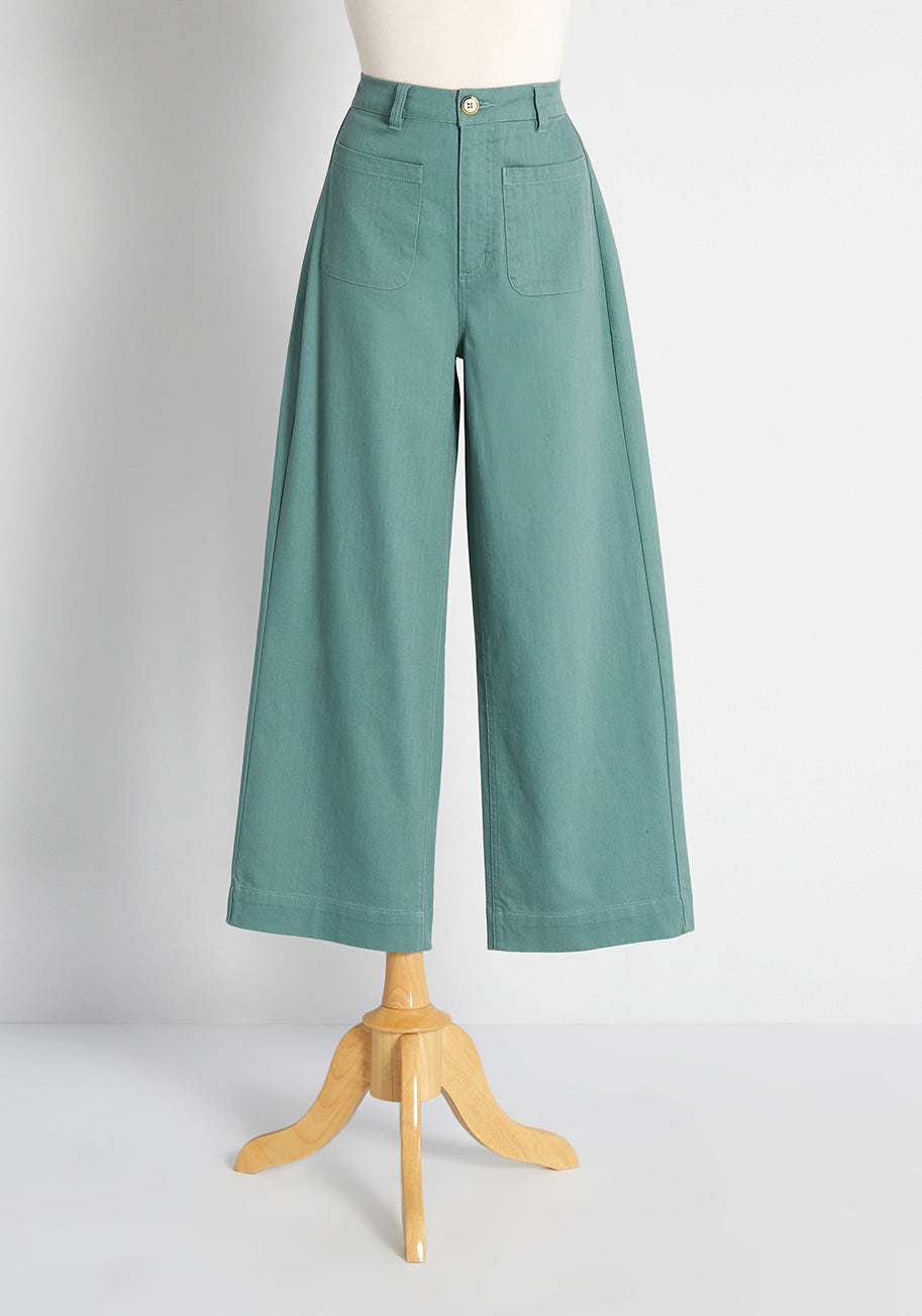 1960s Pants – Top 10 Styles for Women Princess Highway Tell Me More Wide-Leg Pants in Green Size 16 $75.00 AT vintagedancer.com