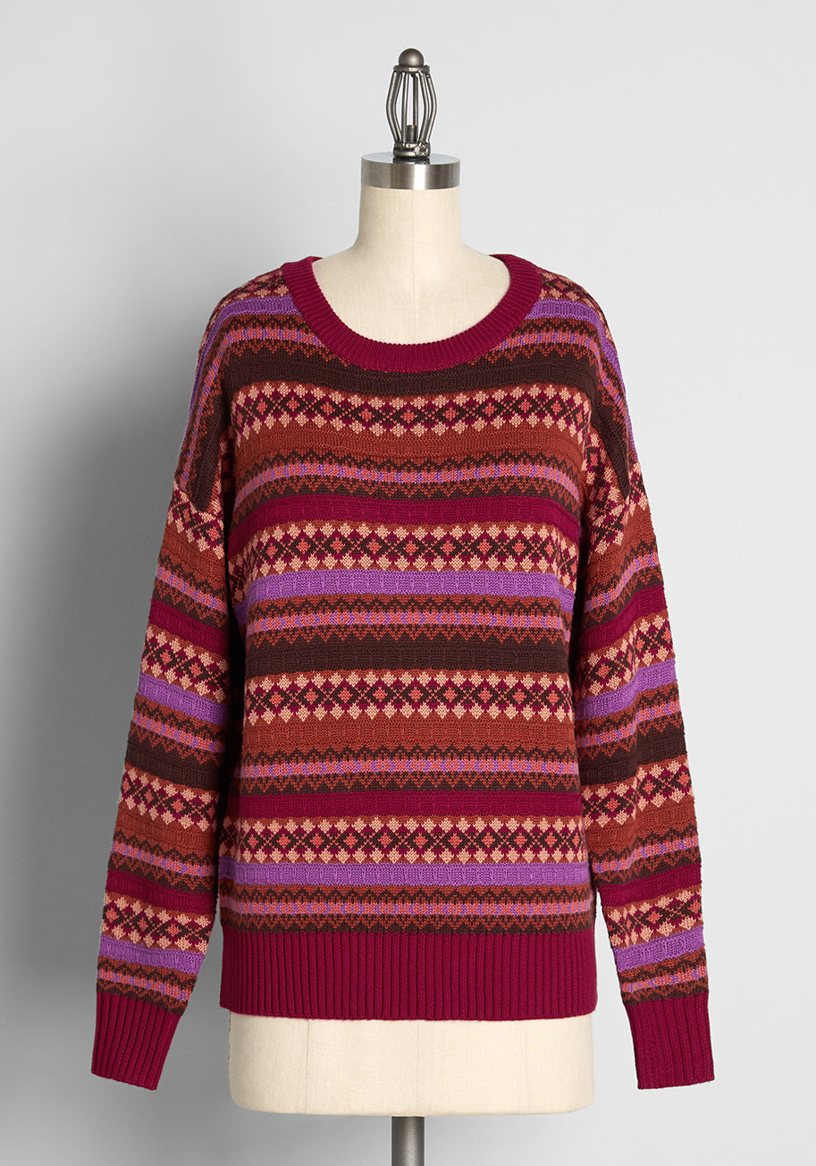 Vintage Sweaters, Retro Sweaters & Cardigan ModCloth x Princess Highway Fair Isle Sweater in Red Size 28 $69.00 AT vintagedancer.com