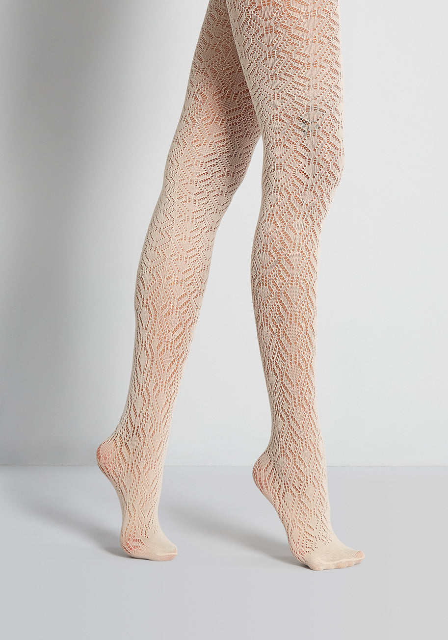 1960s Tights, Stockings, Panty Hose, Knee High Socks ModCloth Crochet Away Tights in Cream $19.00 AT vintagedancer.com