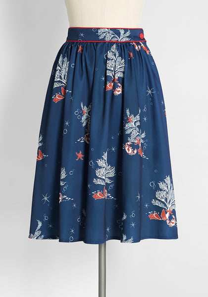 Dancing Beneath the Waves Swing Skirt