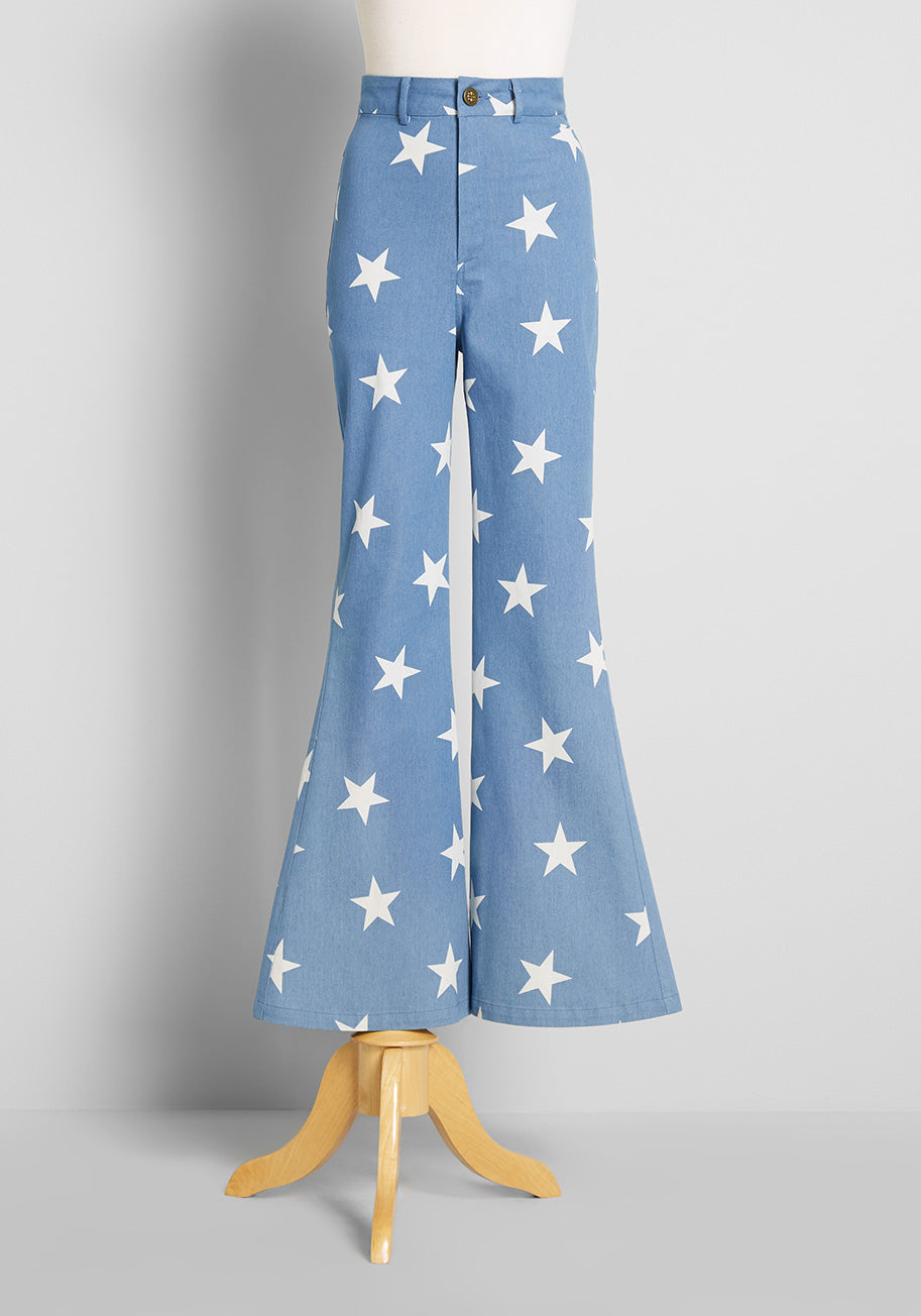 60s Pants, Jeans, Hippie, Flares, Jumpsuits Bright  Beautiful Starry Pride High-Rise Flared Jeans in Denim Size 20 $86.00 AT vintagedancer.com