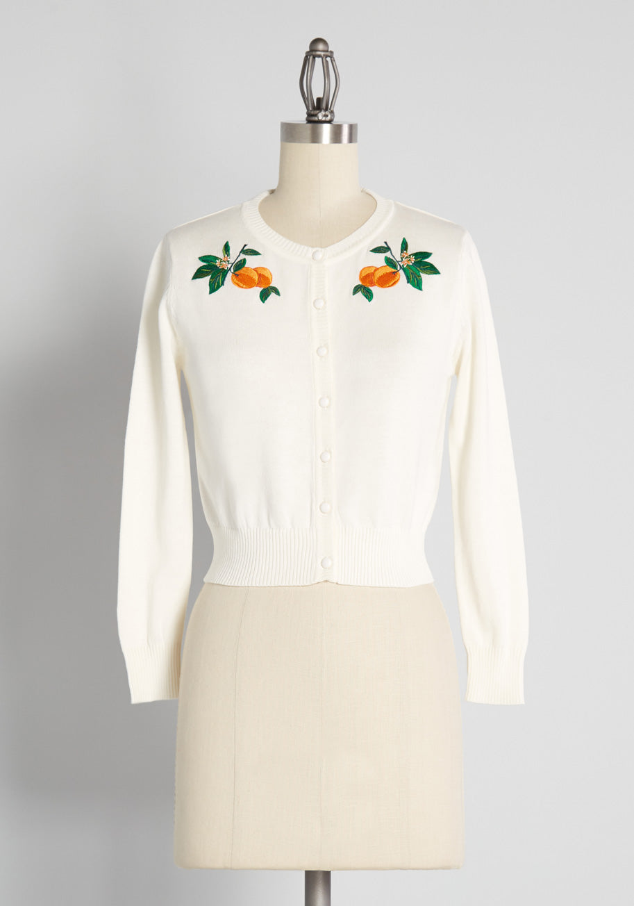 1950s Style Clothing & Fashion ModCloth x Collectif California Citrus Grove Cardigan in White Size 30 $69.00 AT vintagedancer.com