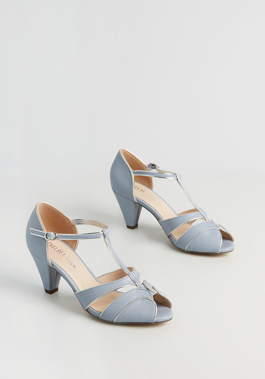 1950s Style Shoes   Heels, Flats, Boots Chelsea Crew Stepping Off the Page Ankle Strap Heels in Blue Size 40 $72.00 AT vintagedancer.com