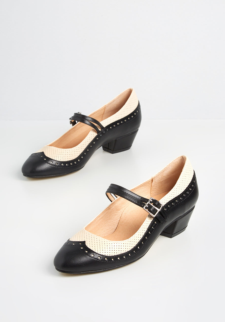 60s Shoes, Go Go Boots   1960s Shoes Chelsea Crew Fabulous Fusion Mary Jane Heels in BlackWhite Size 41 $72.00 AT vintagedancer.com