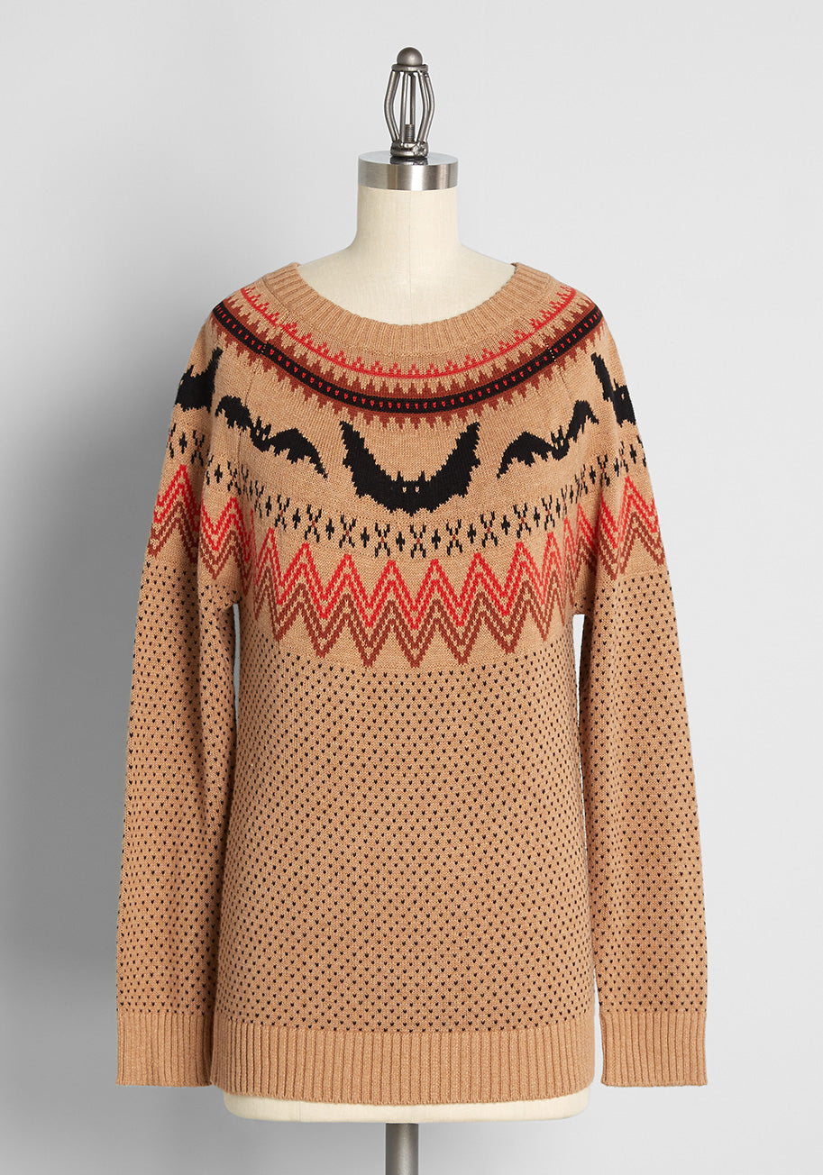 Vintage Sweaters & Cardigans: 1940s, 1950s, 1960s ModCloth It Be Like Bat Fair Isle Sweater in Camel Size 4X $69.00 AT vintagedancer.com