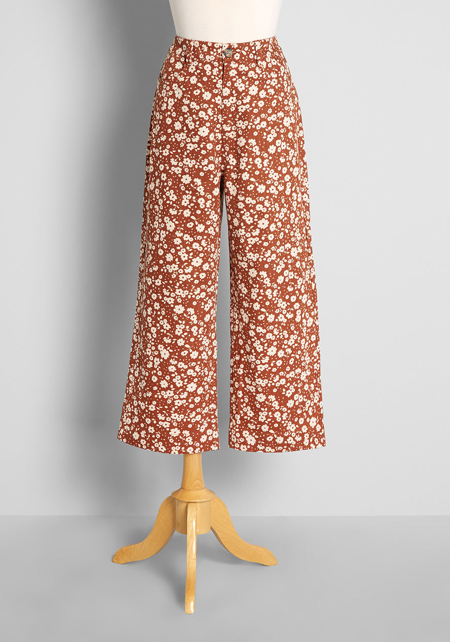 60s Pants, Jeans, Hippie, Flares, Jumpsuits Princess Highway Ditsy Days in Daisies Wide-Leg Jeans in Toffee Size 16 $79.00 AT vintagedancer.com
