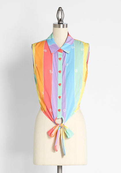 ModCloth x Collectif Prismatic Summer Loving Tie-Front Blouse
