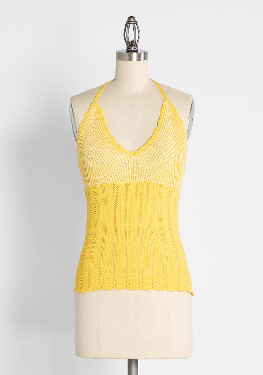 70s Outfits – 70s Style Ideas for Women ModCloth Sun Rays For Days Crochet Halter Top Butter Size 4X $39.00 AT vintagedancer.com