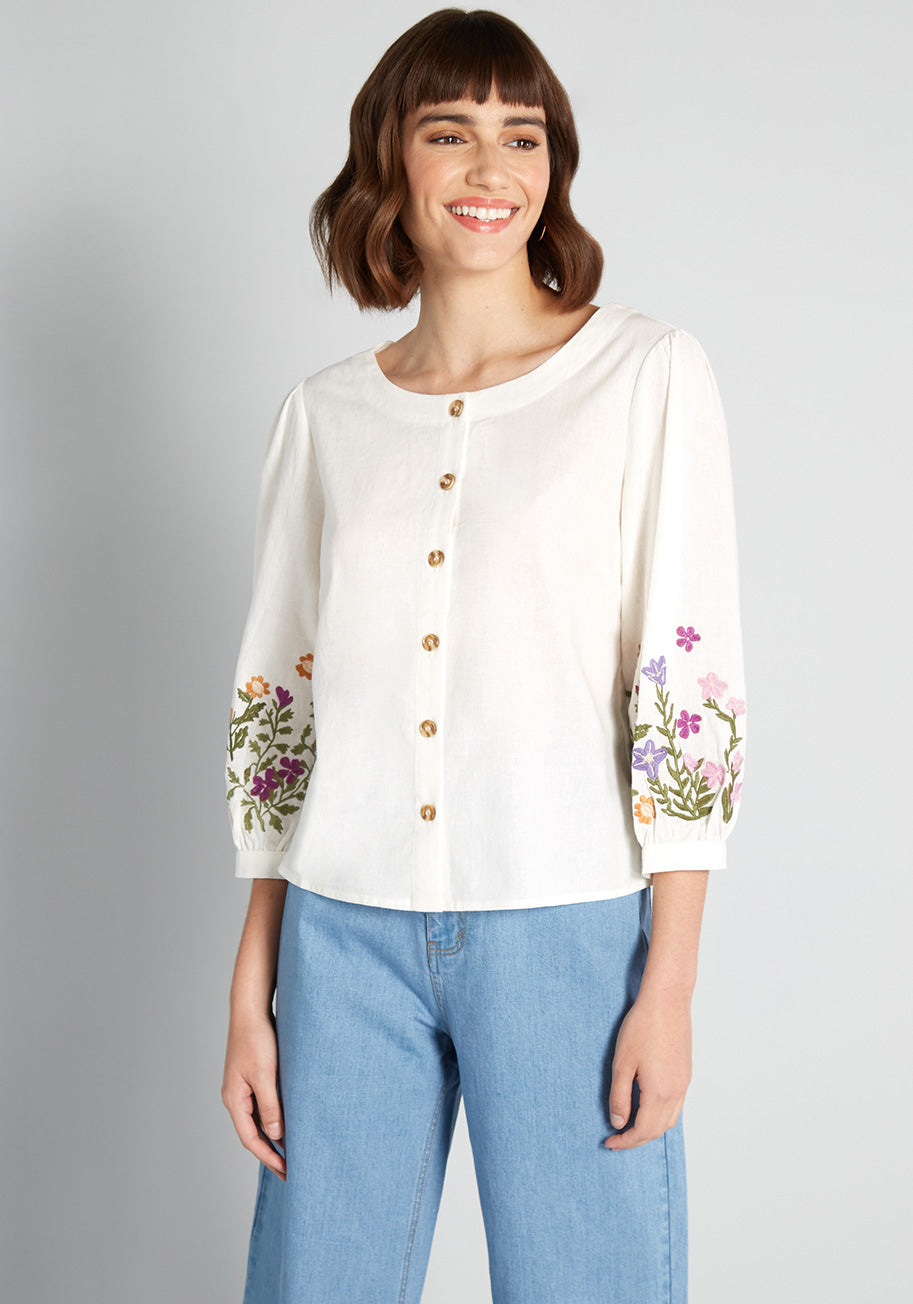 Cottagecore Clothing, Soft Aesthetic Princess Highway Embroidered May Flowers Button-Up Blouse in White Size 16 $59.00 AT vintagedancer.com