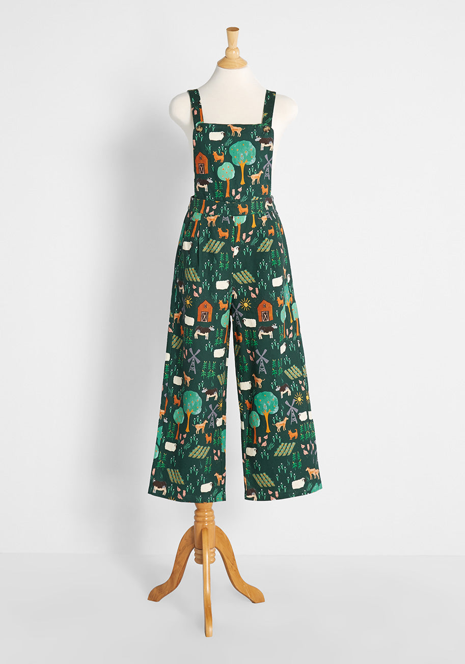 Cottagecore Clothing, Soft Aesthetic Princess Highway Farm Life For Me Overalls in Green Size 16 $89.00 AT vintagedancer.com
