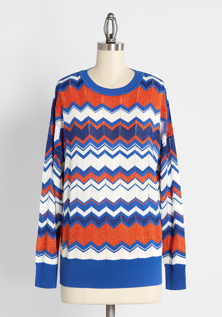 Ladies' Colorful 1920s Sweaters and Cardigans History Molly Bracken The Stripes Are Right Sweater in Blue Size Large $59.99 AT vintagedancer.com