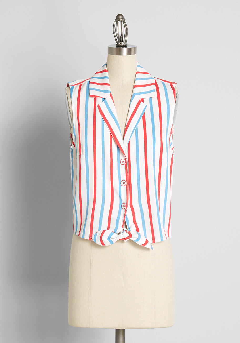 50s Shirts & Tops ModCloth x Barbie Summer Countryside Posh Tie-Front Blouse in Barbie Stripe Size 4X $55.00 AT vintagedancer.com