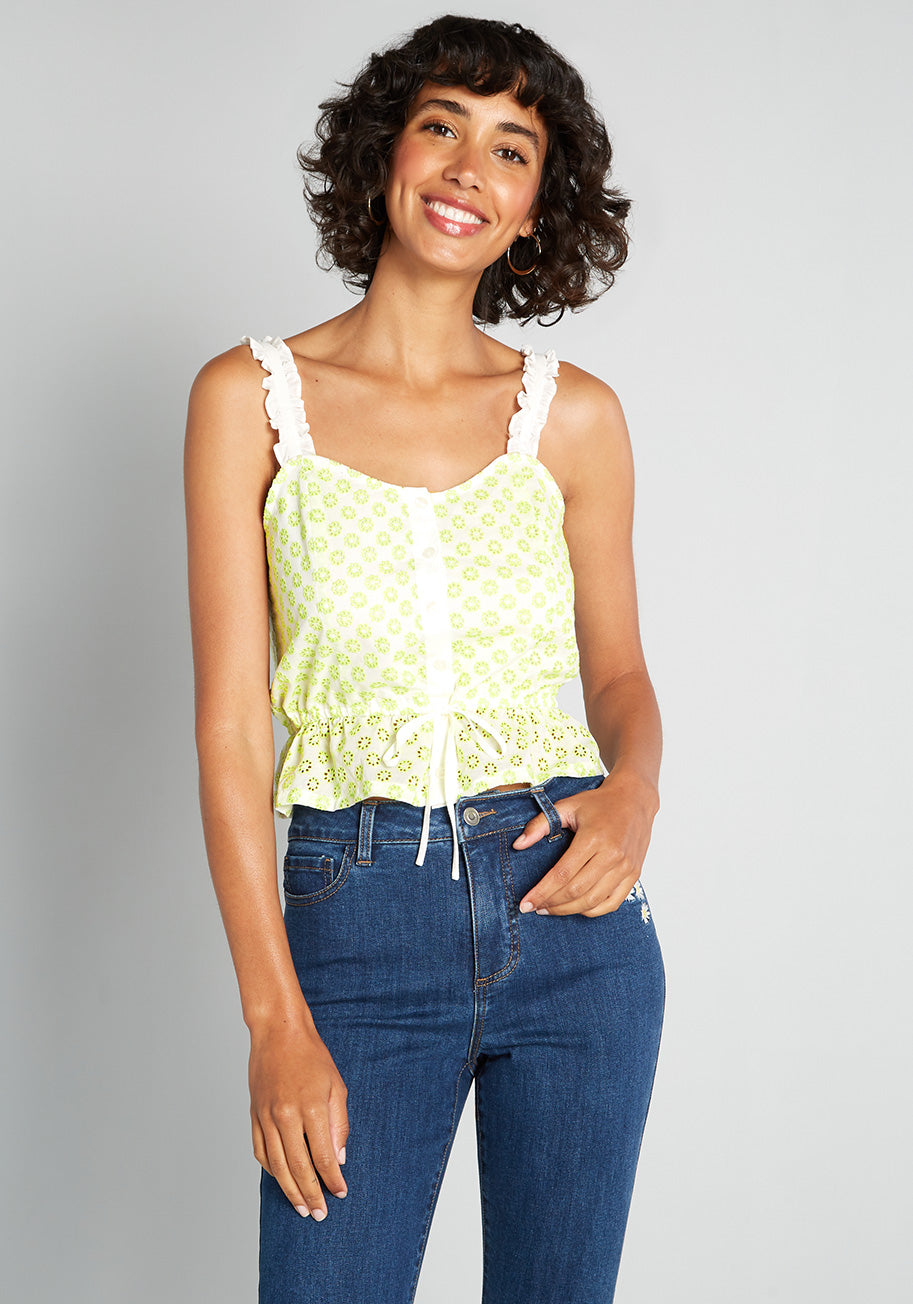 Women's 70s Shirts, Blouses, Hippie Tops ModCloth Darling for the Prairie Peplum Tank Top in White Size 4X $34.99 AT vintagedancer.com