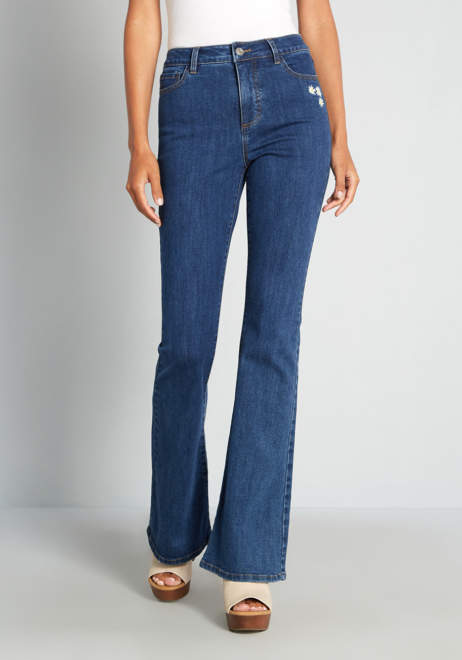 60s Pants, Jeans, Hippie, Flares, Jumpsuits ModCloth Daisies on the Prairie Embroidered Flared Jeans in Medium Blue Size 26 W $69.99 AT vintagedancer.com