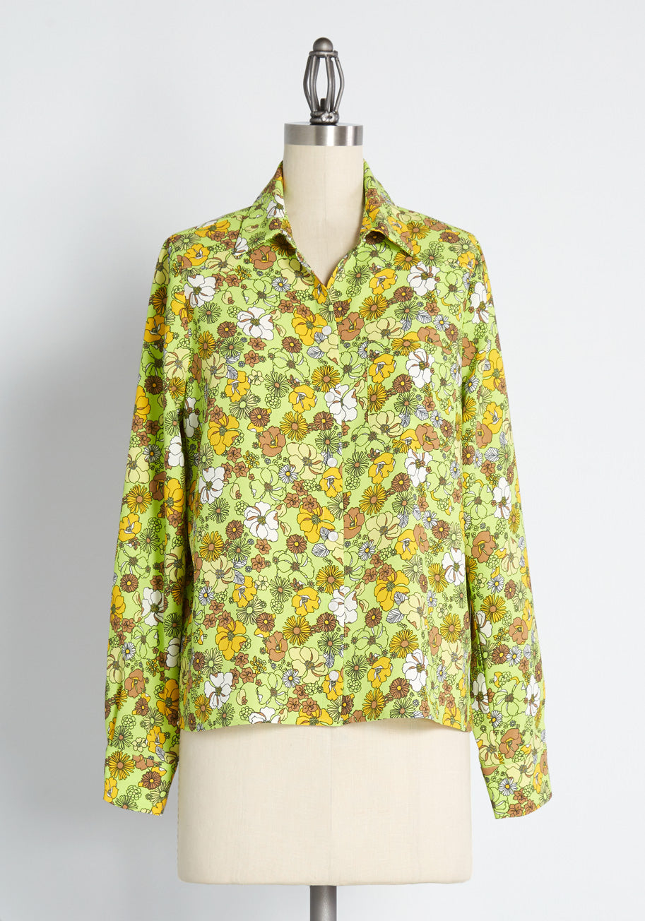 Women's 70s Shirts, Blouses, Hippie Tops ModCloth Wishfully Wonderful Western Shirt in Green Size 2X $49.99 AT vintagedancer.com