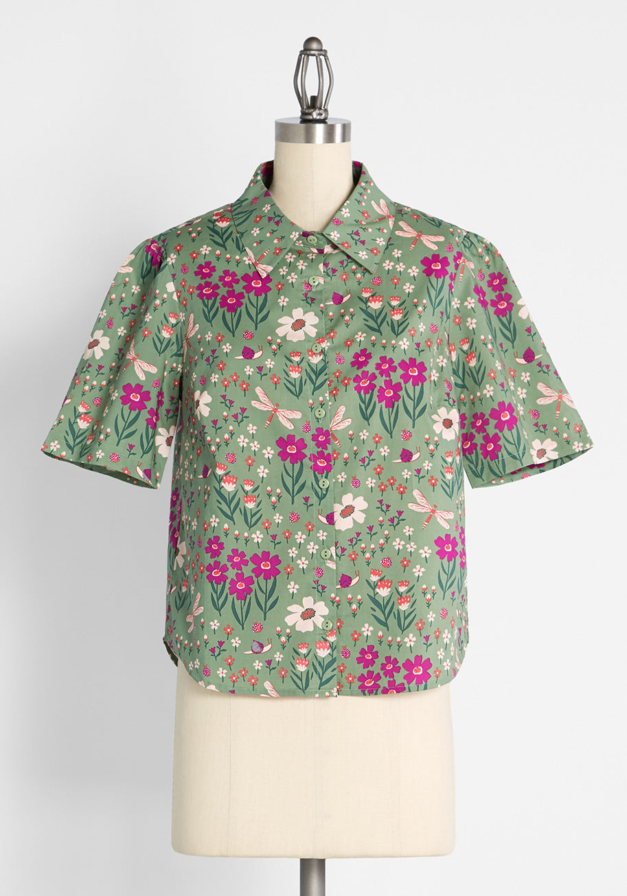 60s Shirts, T-shirts, Blouses, Hippie Shirts ModCloth x Princess Highway Button-Up Shirt in Green Size 28 $59.00 AT vintagedancer.com