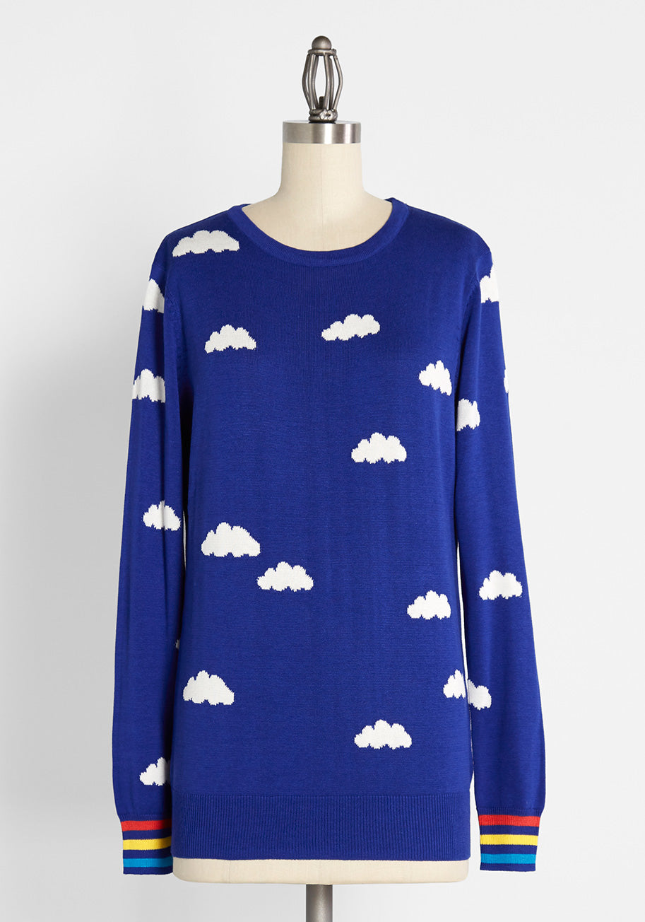 80s Tops, Shirts, T-shirts, Blouse Sugarhill Brighton Smiling Skies Pullover Sweater in Blue Size 10 $69.00 AT vintagedancer.com