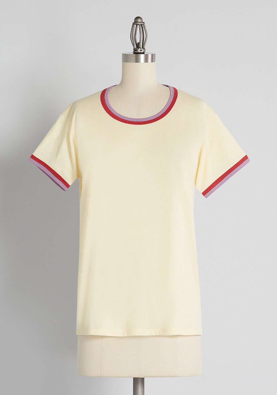 70s Workout Clothes | 80s Tracksuits, Running Shorts, Leotards CAMP Always Comes Through Ringer T-Shirt in Cream Size 2X $29.99 AT vintagedancer.com