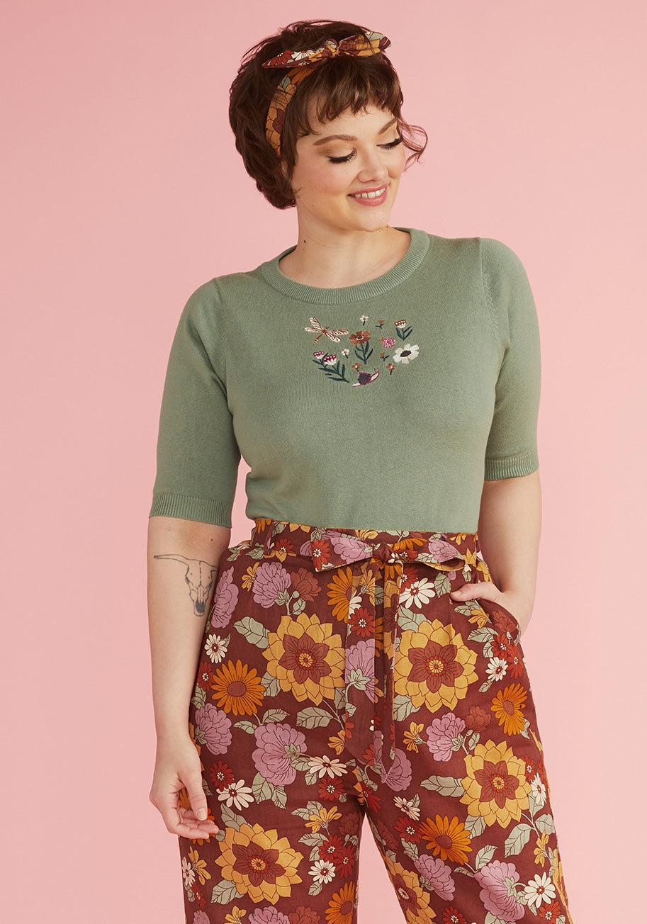 50s Shirts & Tops ModCloth x Princess Highway Embroidered Knit Top in Green Size 26 $59.00 AT vintagedancer.com