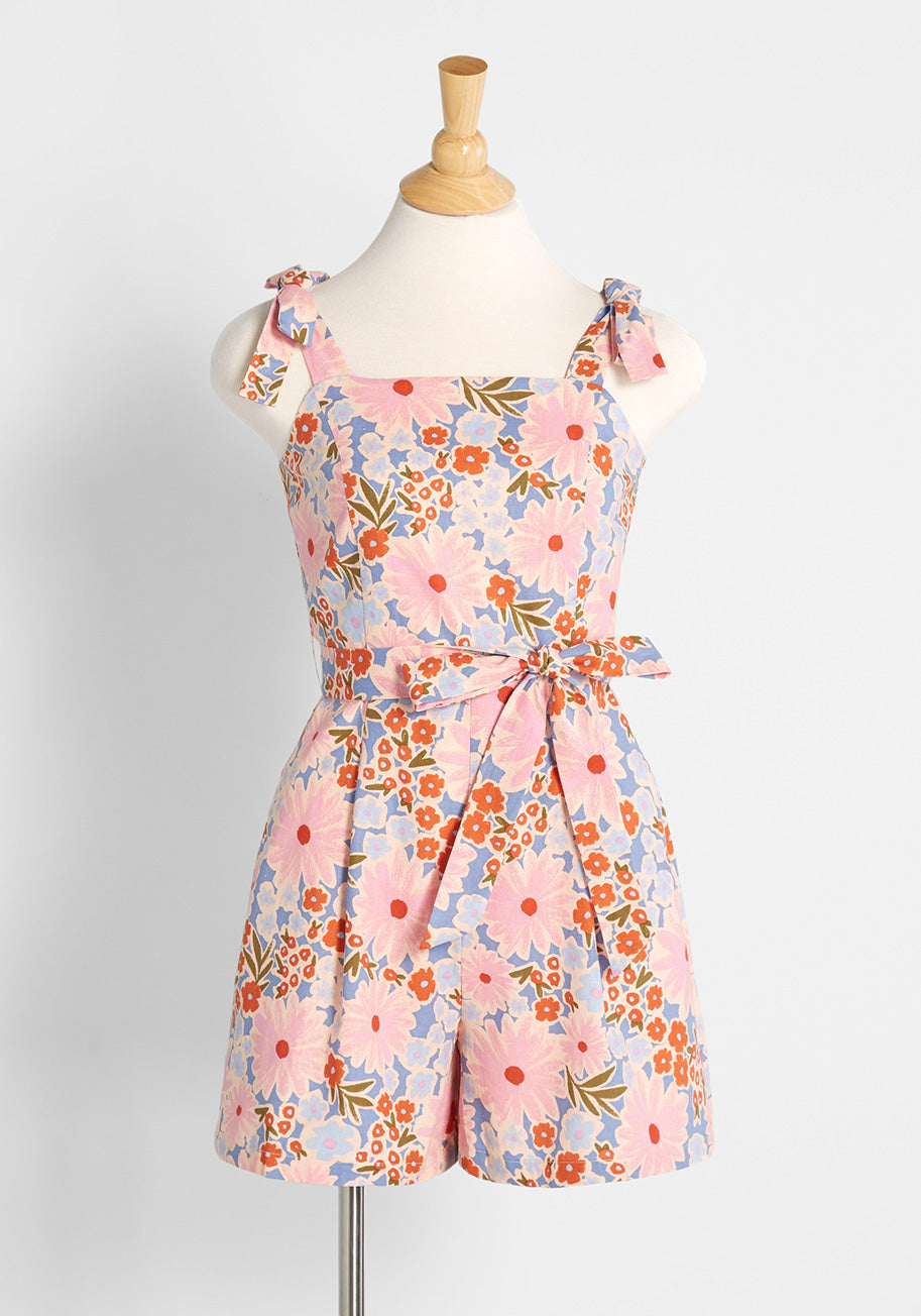 Vintage Rompers, Playsuits   Retro, Pin Up, Rockabilly Playsuits Princess Highway Its Definitely Playtime Romper in Blue Size 16 $69.00 AT vintagedancer.com
