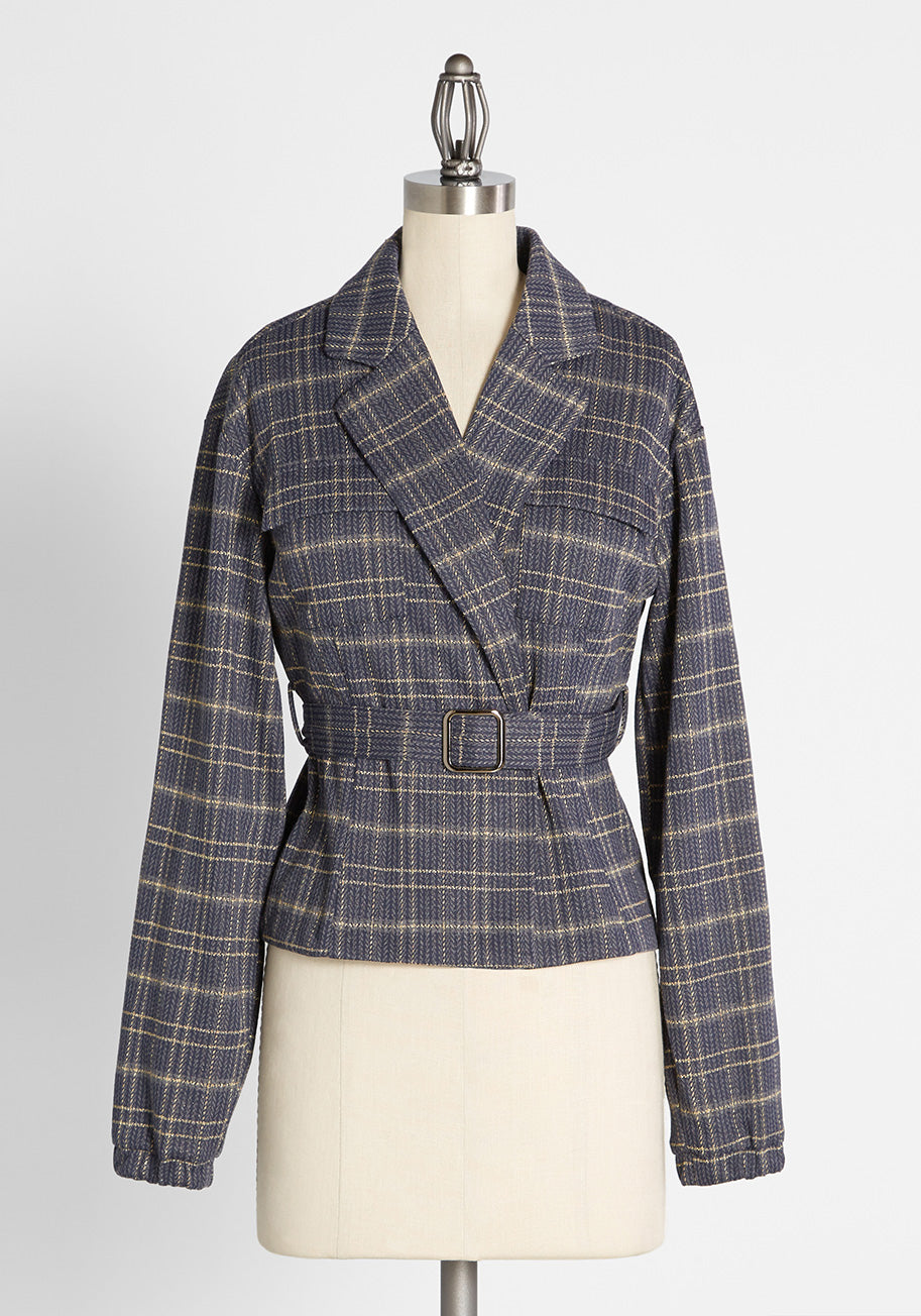 1940s Coats & Jackets Fashion History ModCloth Silver and Bold Jacket in Blue Plaid Size 1X $89.00 AT vintagedancer.com