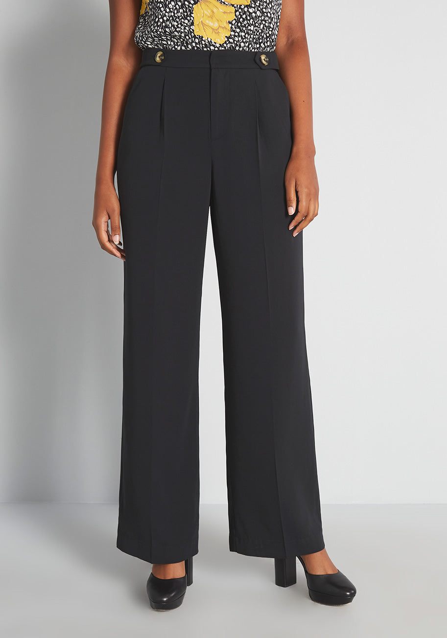 60s Pants, Jeans, Hippie, Flares, Jumpsuits ModCloth Step Into My Office Wide-Leg Pants in Black Size 10 $44.99 AT vintagedancer.com