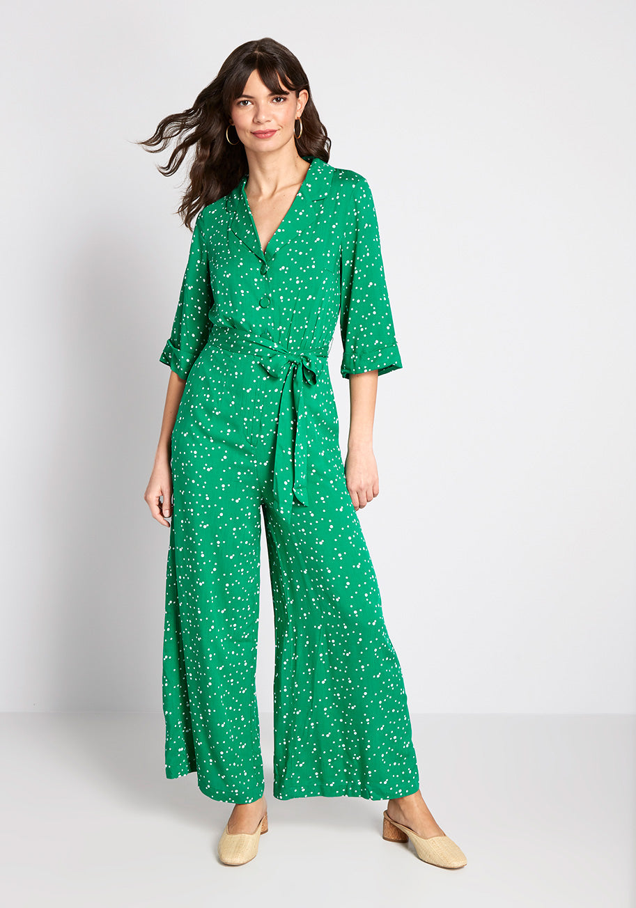 Vintage Overalls & Jumpsuits ModCloth x Collectif Away You Go Jumpsuit in Green Size 24 $69.99 AT vintagedancer.com